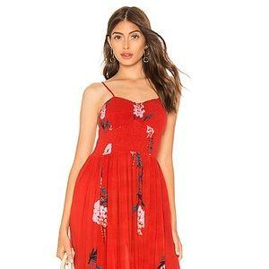 Beau Smocked Printed Slip Dress Red free People